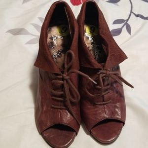 Leather Lace Up Peep Toe Wedge Heel (24 HOUR SALE)